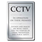 Brushed Silver CCTV In Operation Sign