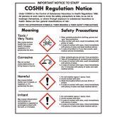 COSHH Regulation Safety Notice.