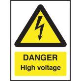 Rigid Danger High Voltage Sign 210x150mm