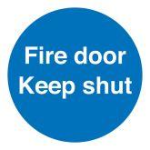 Self Adhesive Fire Door Keep Shut Sign 100x100mm