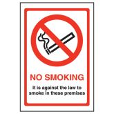 No Smoking Against The Law In These Premises Sign