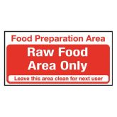 Food Prep Area Raw Food Area Only Sign.