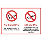 No Smoking No Vaping Window Sticker