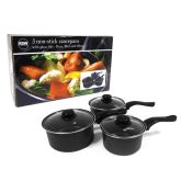 Black Non-Stick 3-Piece Pan Set 6/7/8""