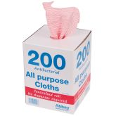 Red Antibacterial Cloths In A Box (200)
